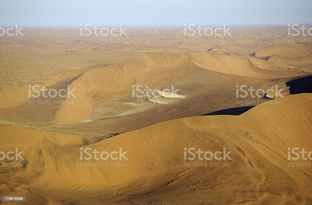 Aerial photo from big dunes in the namib desert stock photo