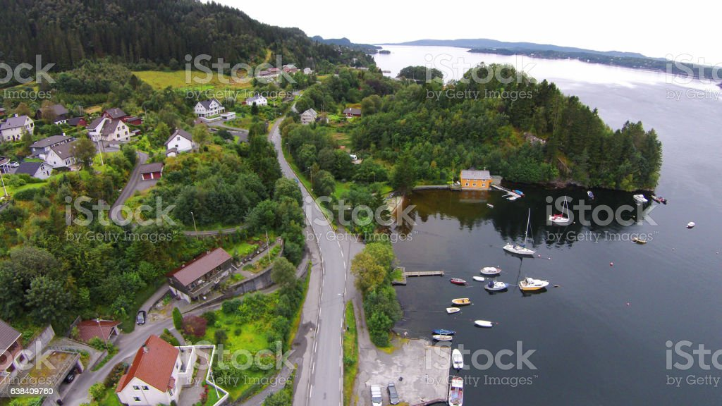 Aerial photo from Fana in Bergen, Norway stock photo