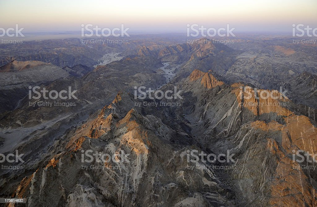 Aerial photo from mountains in the namibian desert stock photo