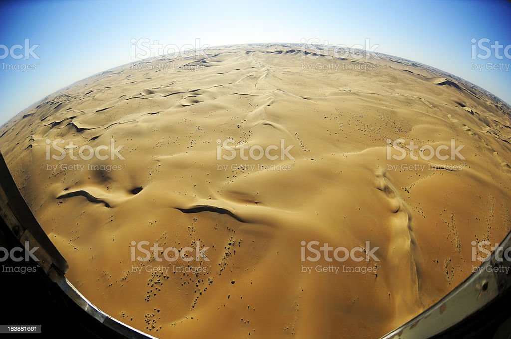 Aerial photo from the dunes with a fisheye lens stock photo
