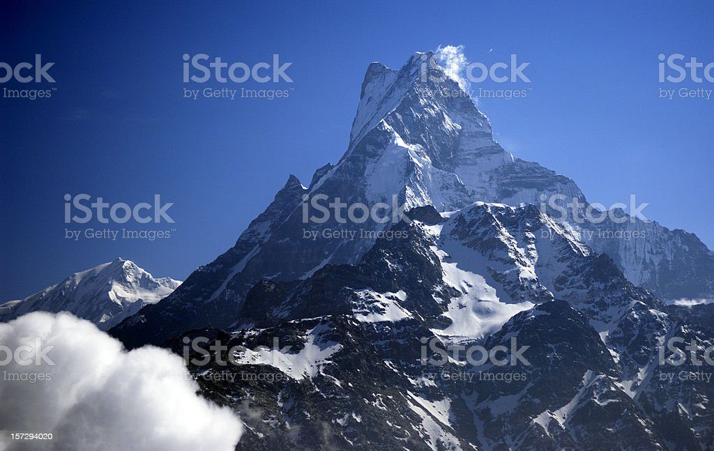 Aerial photo from the Machapuchare (22,943 feet) stock photo