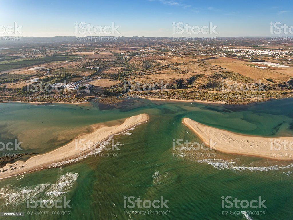 Aerial. Photo from the sky, the village Cacela Velha Tavira stock photo