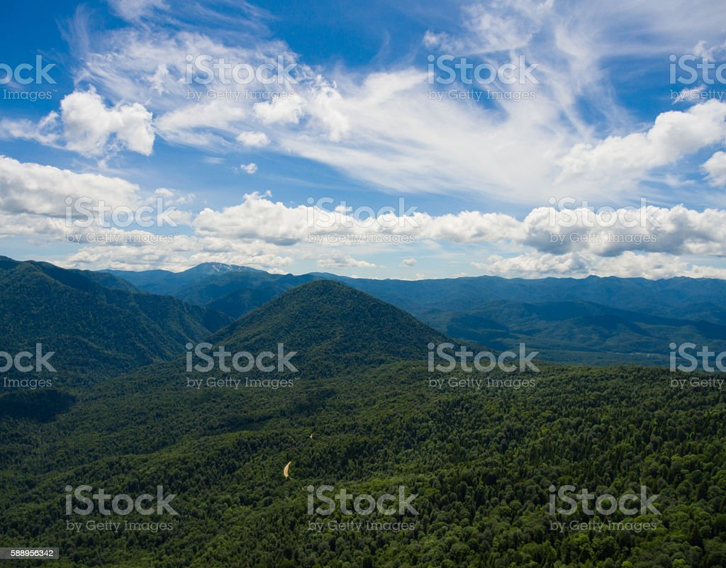 Aerial photo. Mountain valley. landscape with mountain peaks stock photo
