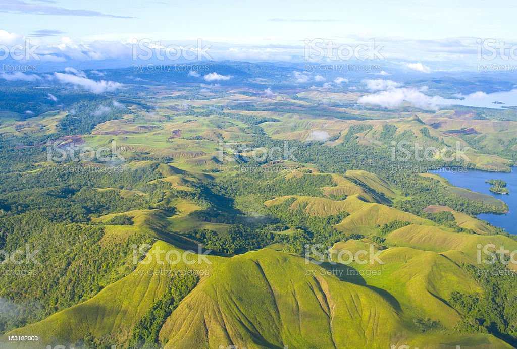 Aerial photo. New Guinea stock photo