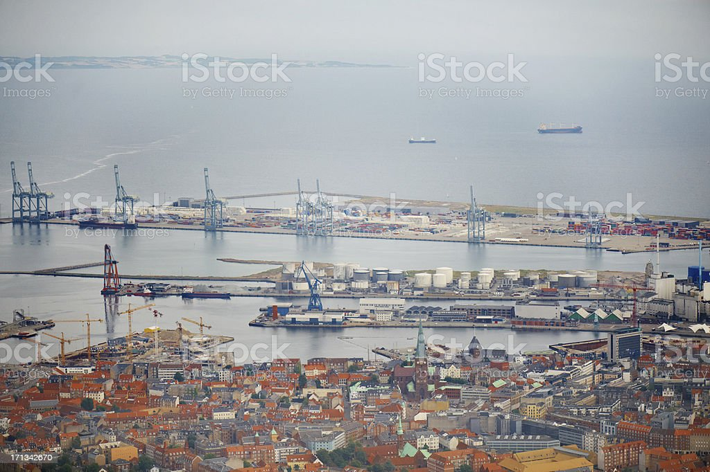 Aerial photo of a big city with industrial harbor stock photo