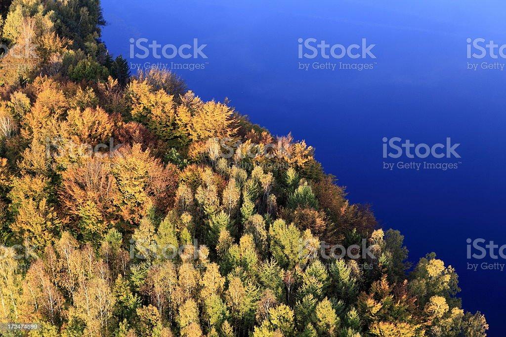 Aerial photo of a lake. Autumn royalty-free stock photo
