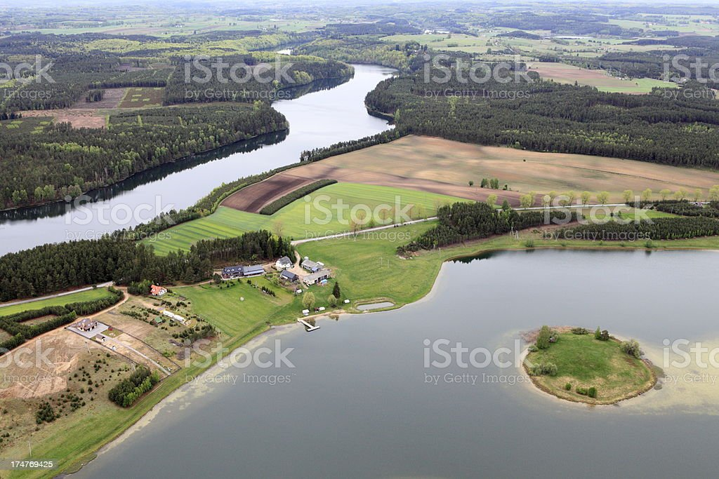 Aerial photo of a lake royalty-free stock photo