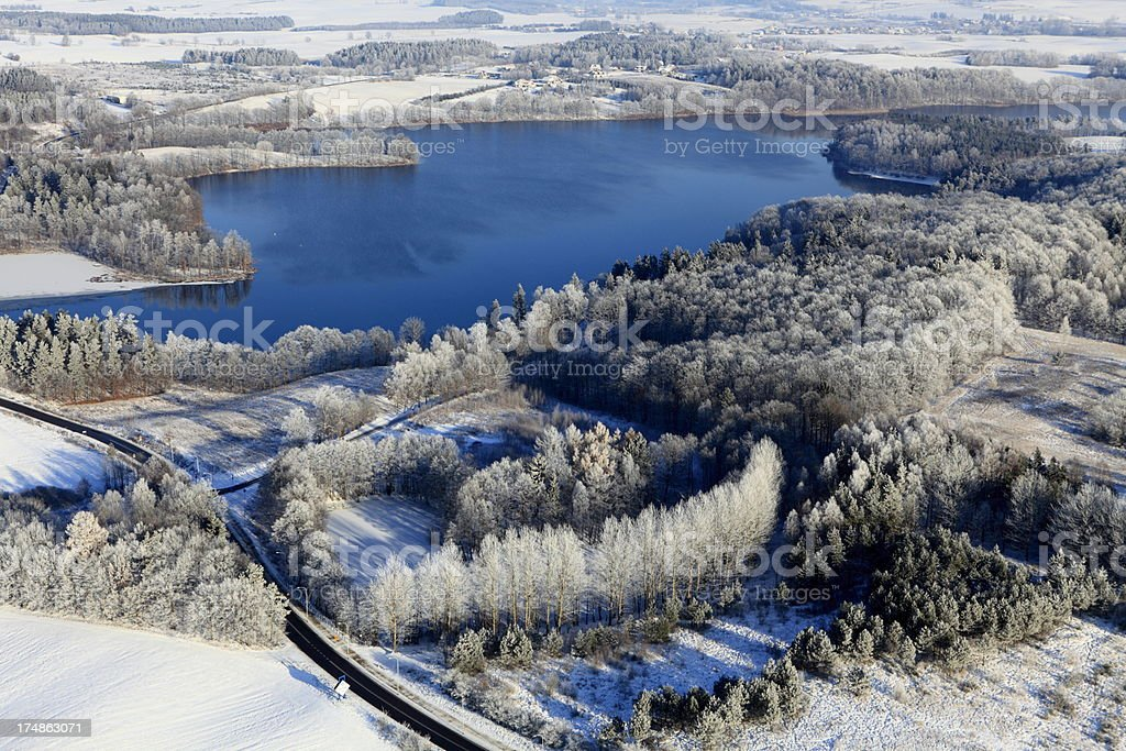 Aerial photo of a lake. Winter royalty-free stock photo