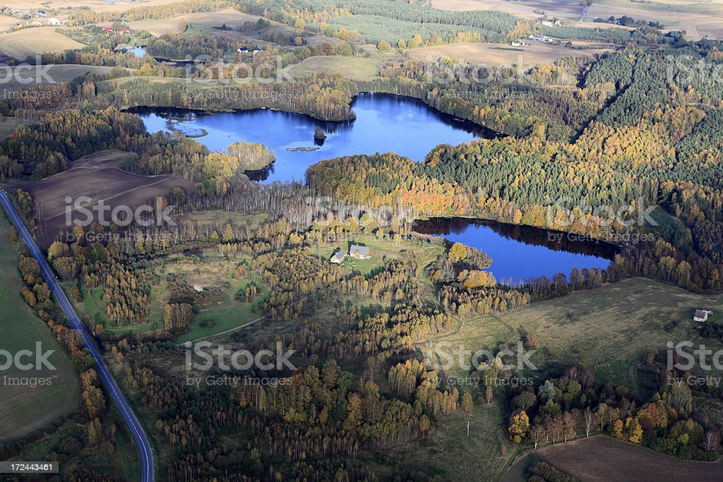 Aerial photo of a lakes. Autumn royalty-free stock photo