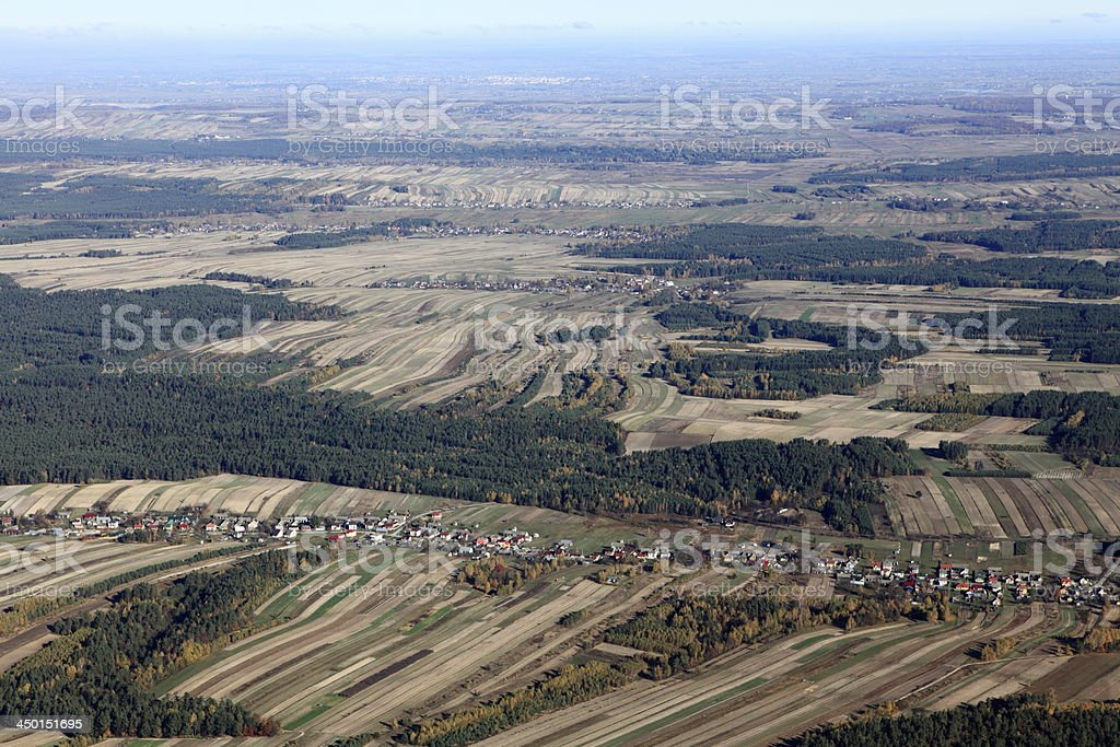Aerial photo of a village. stock photo