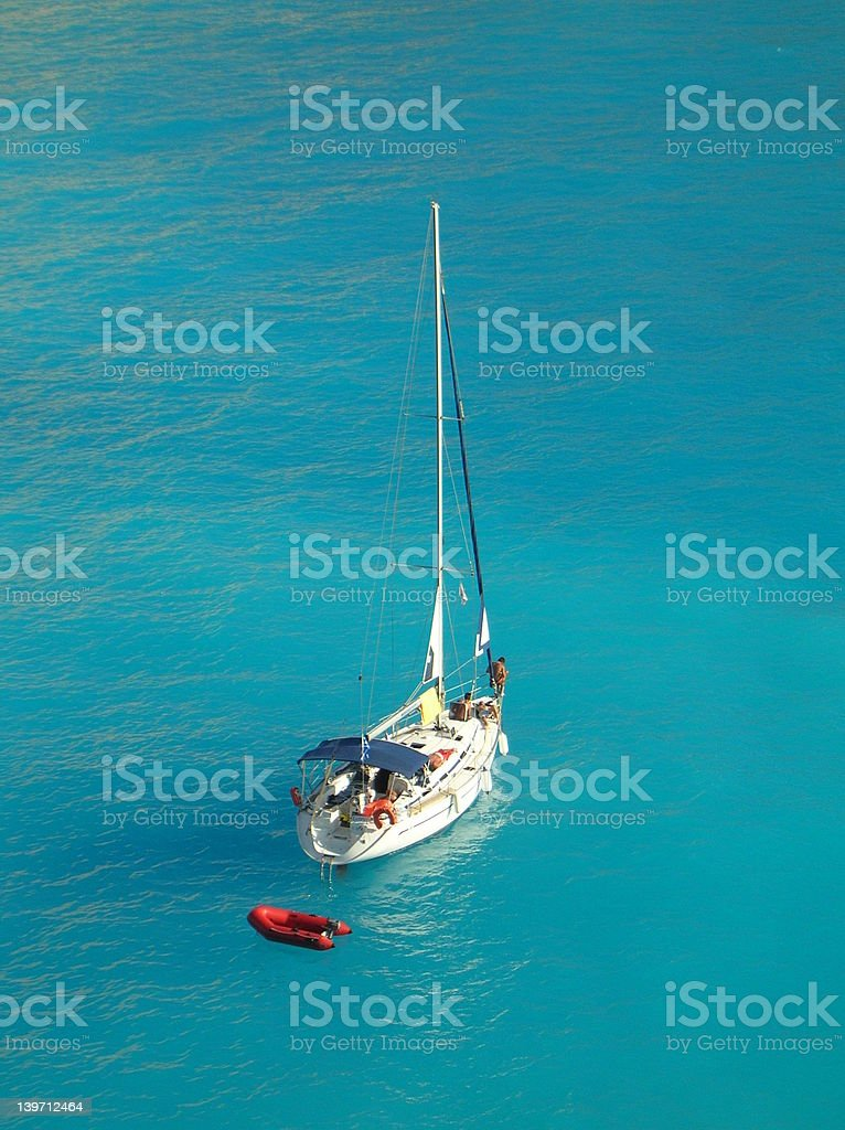 Aerial photo of a yacht in the ionian sea Greece royalty-free stock photo