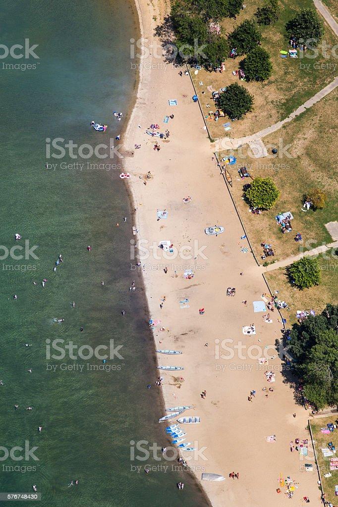 Aerial photo of beachgoers at Devils Lake stock photo