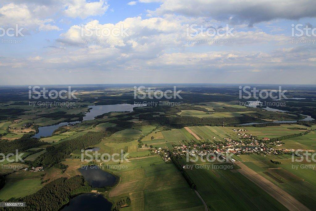 Aerial photo of Brzezno Szlacheckie village stock photo