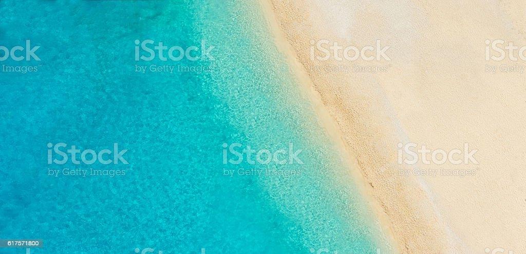 Aerial photo of empty beach stock photo