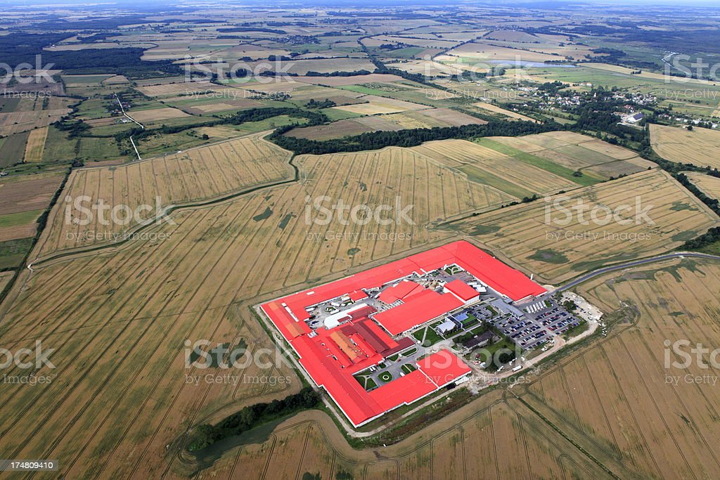 Aerial photo of Farmland and a factory royalty-free stock photo