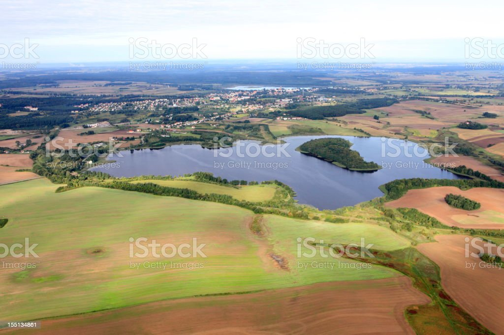 Aerial photo of Farmland and a lake stock photo