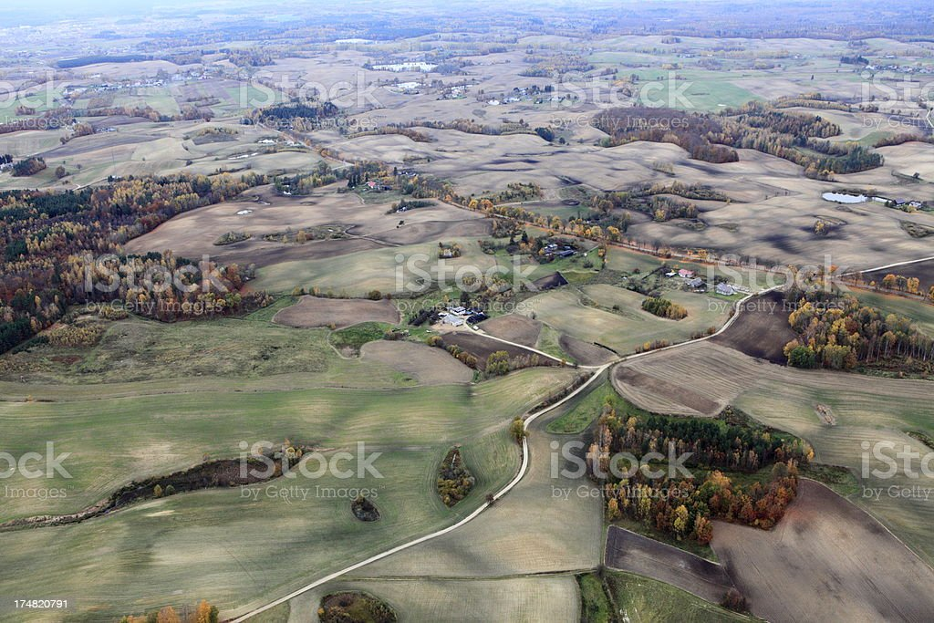 Aerial photo of Farmland. Autumn royalty-free stock photo