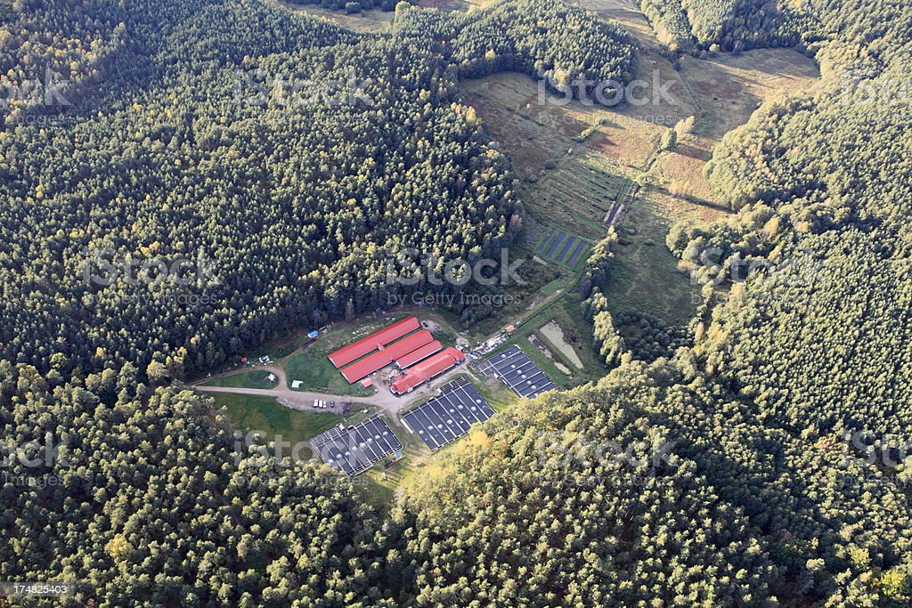 Aerial photo of fish farm royalty-free stock photo
