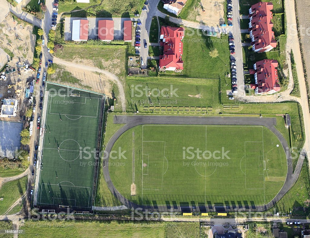 Aerial photo of Football Field royalty-free stock photo