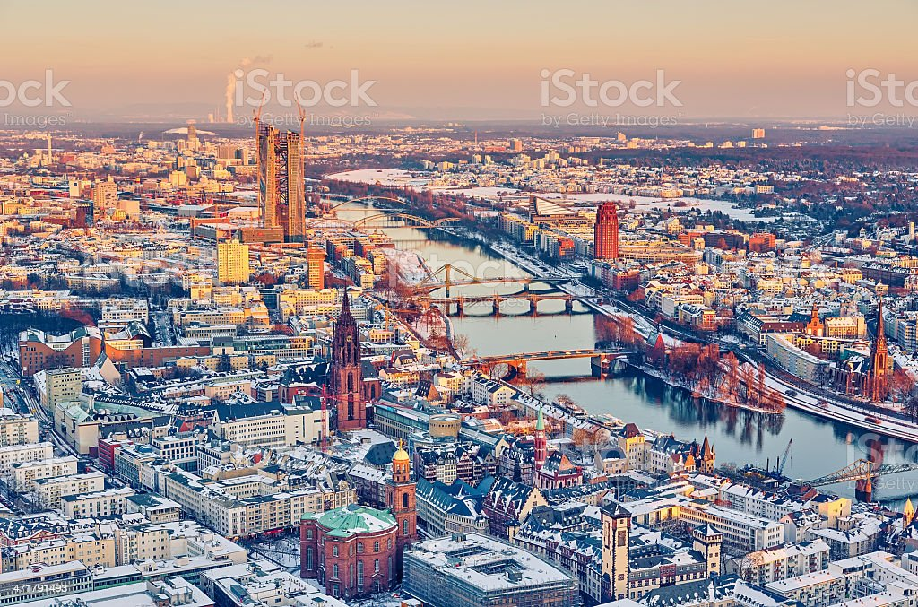 Aerial photo of Frankfurt's downtown at sunset royalty-free stock photo