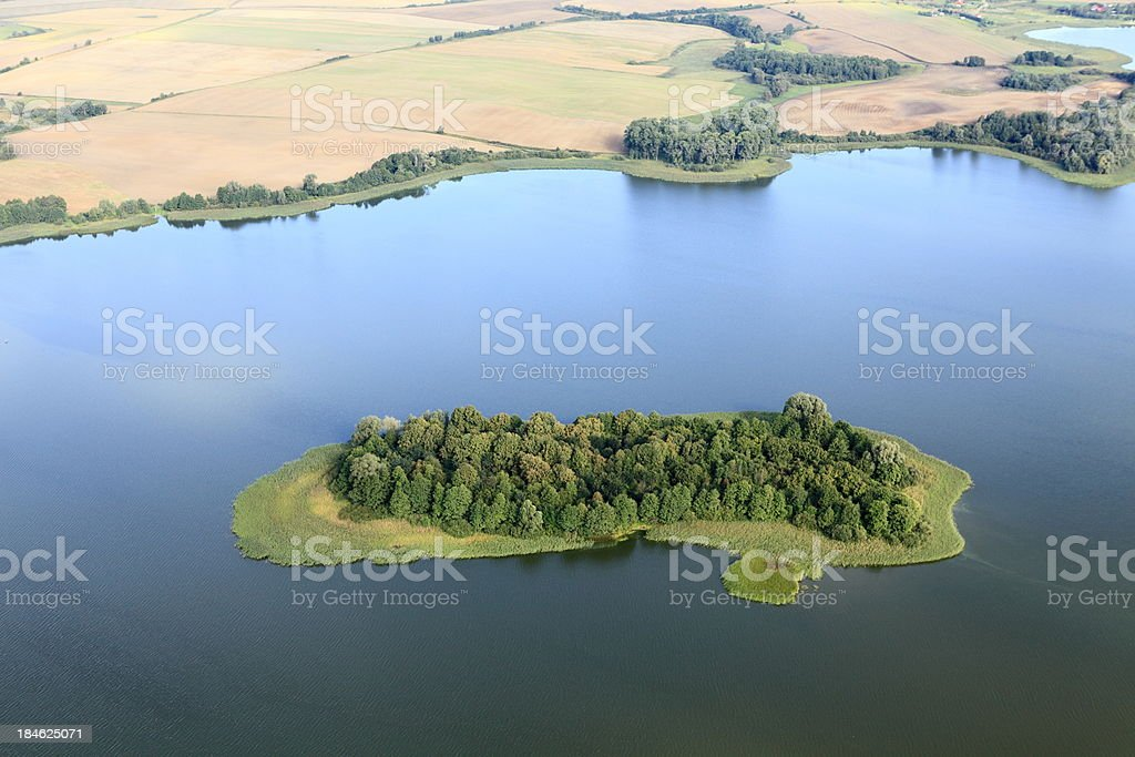 Aerial photo of green island royalty-free stock photo