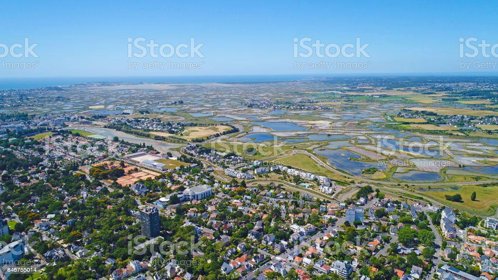 Aerial photo of Guerande salt marshes stock photo