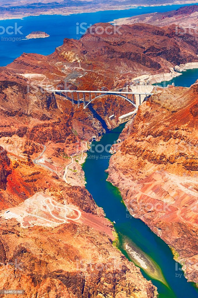 Aerial photo of Hoover Dam and a bypass bridge stock photo