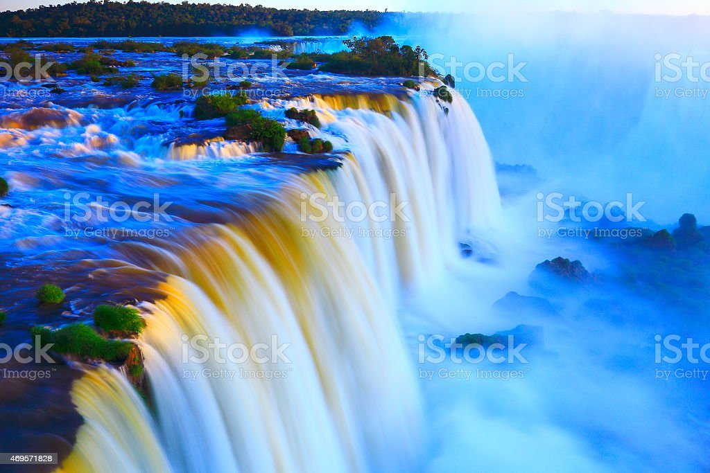 Aerial photo of Iguacu falls, South America in the evening stock photo