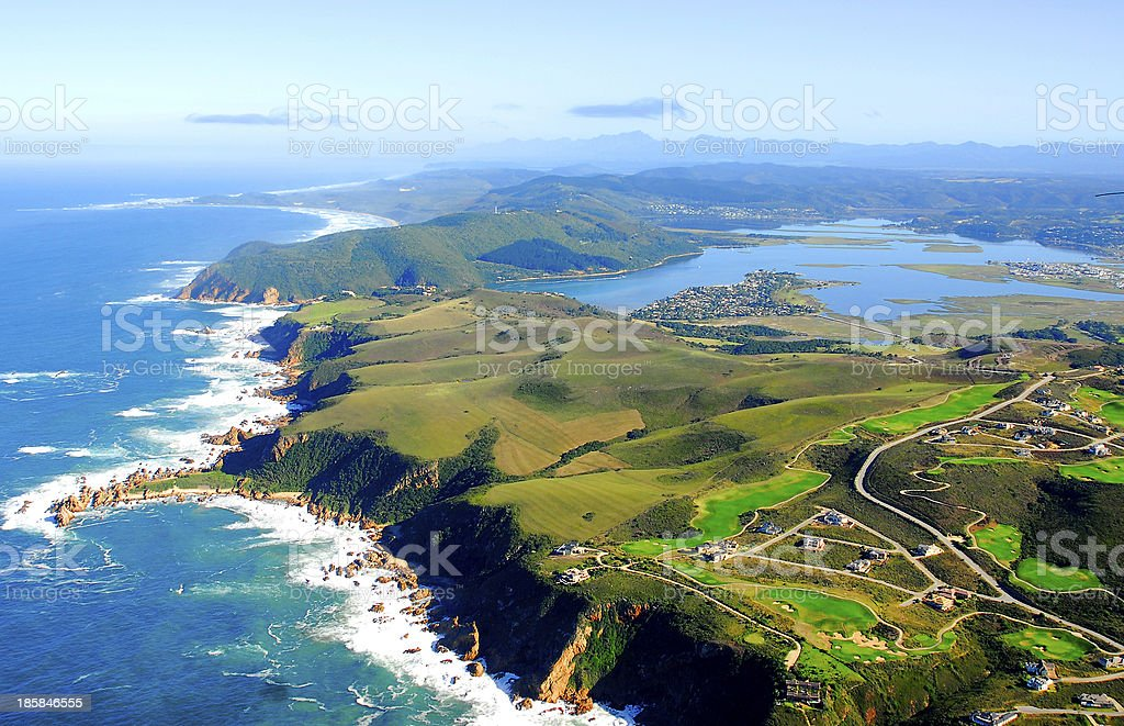 Aerial photo of Knysna, Garden Route South Africa stock photo