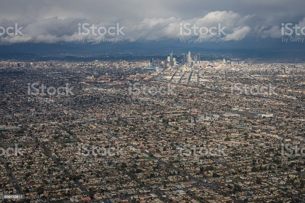 Aerial photo of Los Angeles after rain storm with clouds stock photo