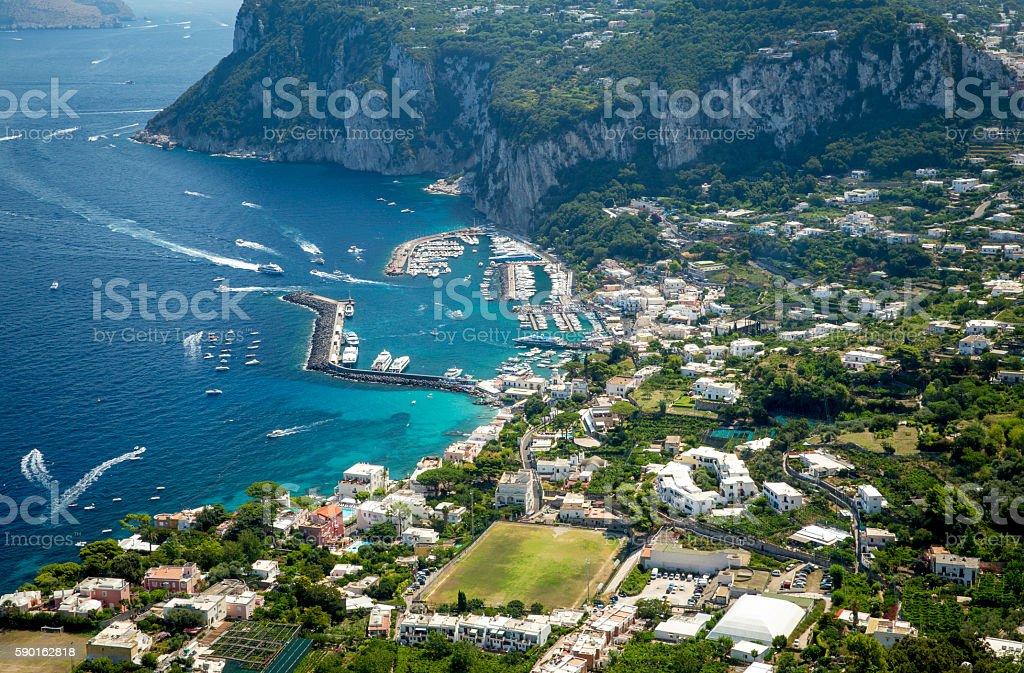 Aerial photo of Marina Grande on Capri island, Campania, Italy stock photo