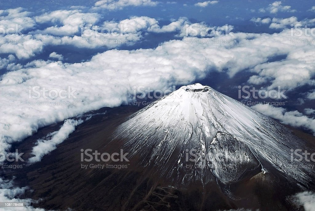 Aerial photo of mount fuji stock photo