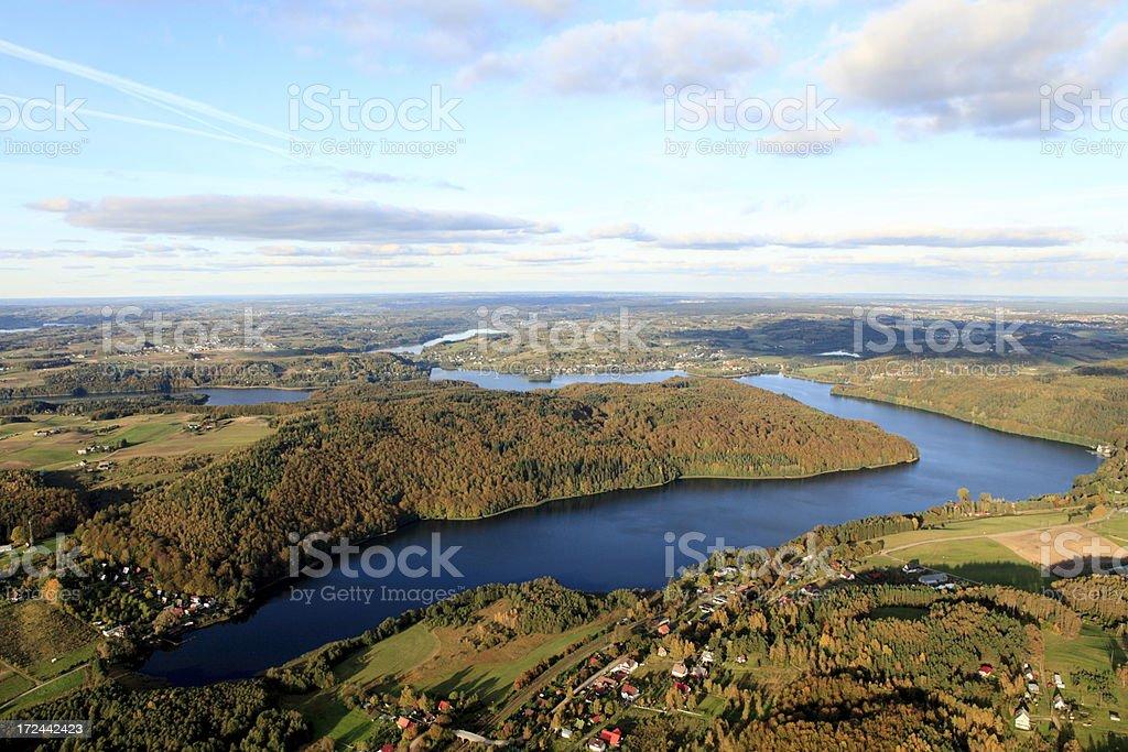 Aerial photo of Ostrzyckie lake. Autumn stock photo