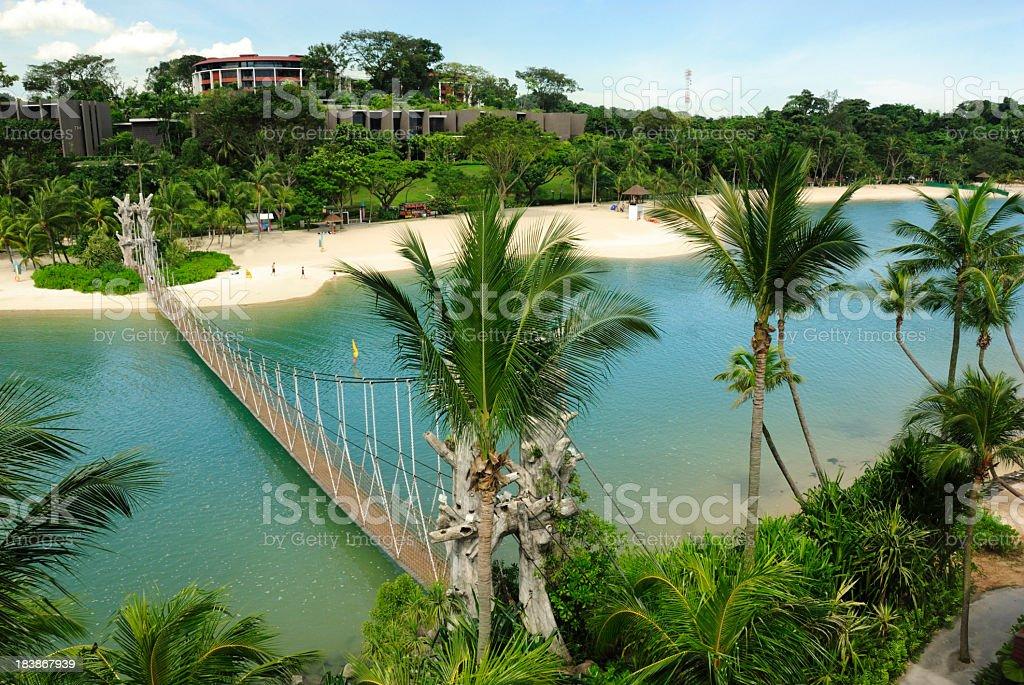 Aerial photo of Palawan Beach in Sentosa, Singapore stock photo