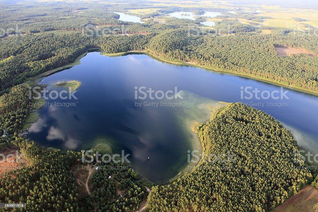 Aerial photo of Piaszno Lake royalty-free stock photo