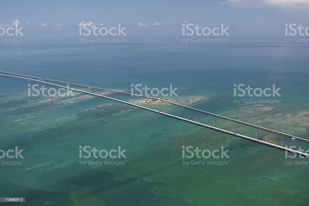 Aerial Photo of Pigeon Key and Seven Mile Bridge stock photo