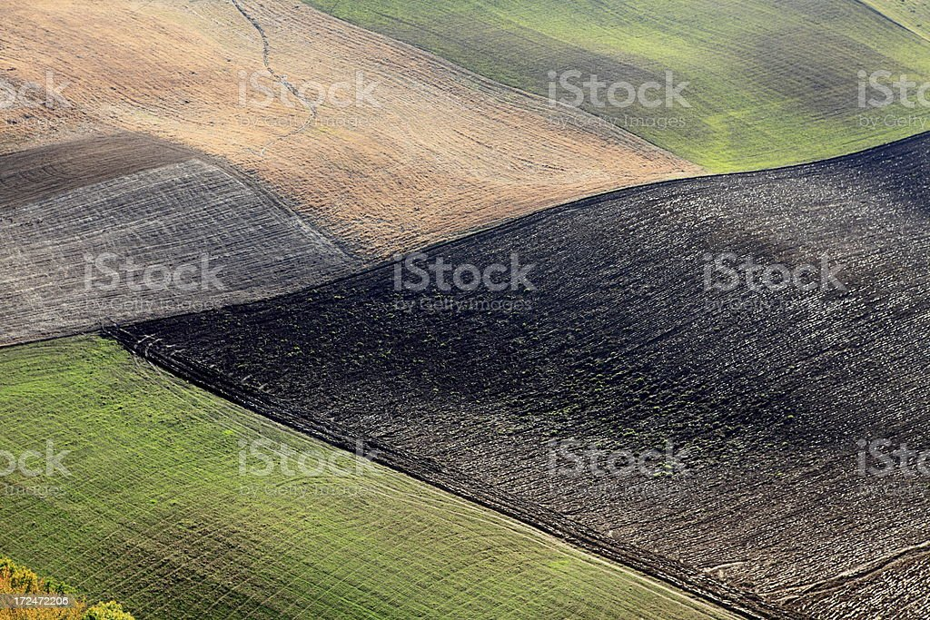 Aerial photo of plowed field royalty-free stock photo