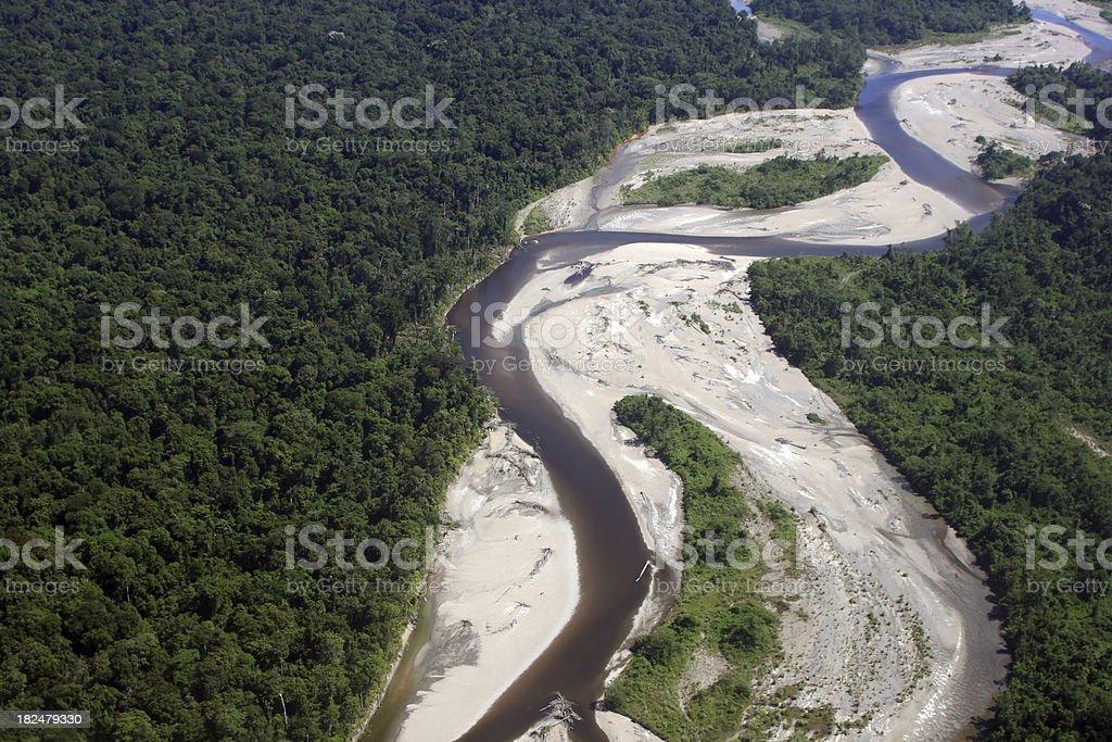 Aerial photo of pristine rainforest stock photo