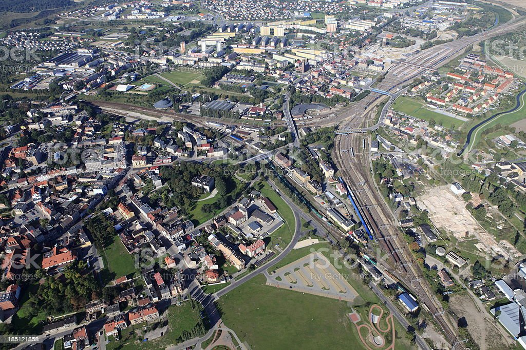 Aerial photo of Railroad Junction in Tczew city royalty-free stock photo