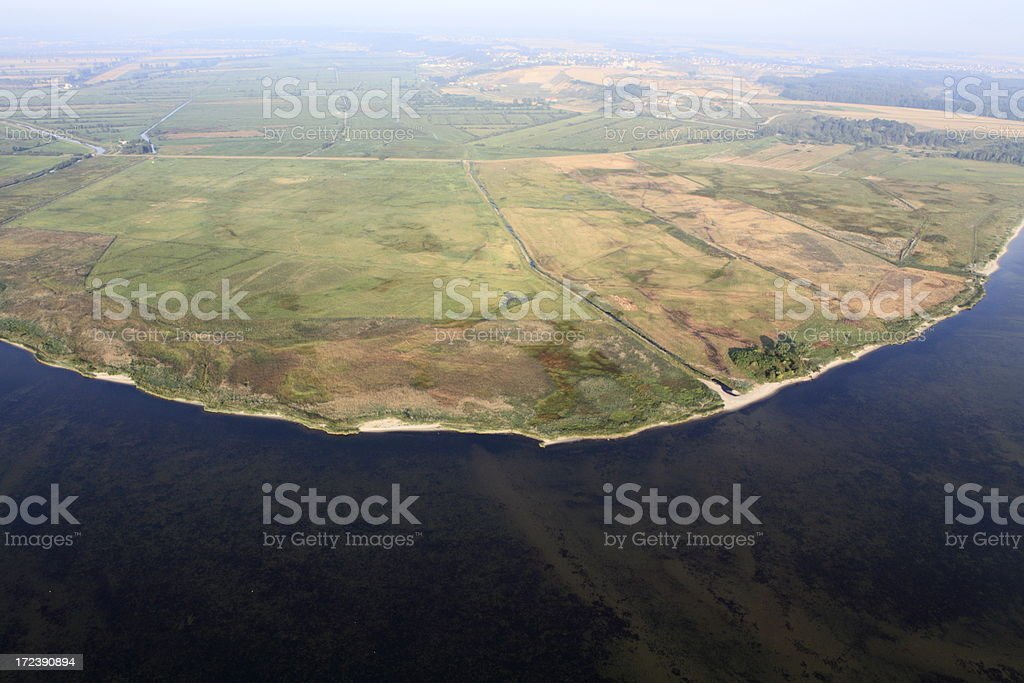 Aerial photo of seaside stock photo