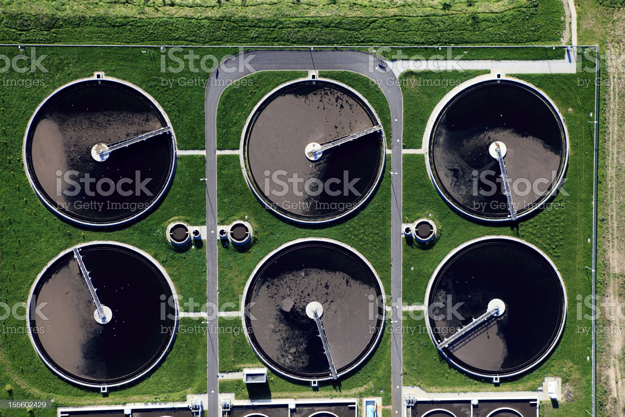 Aerial photo of Sewage Treatment Plant royalty-free stock photo