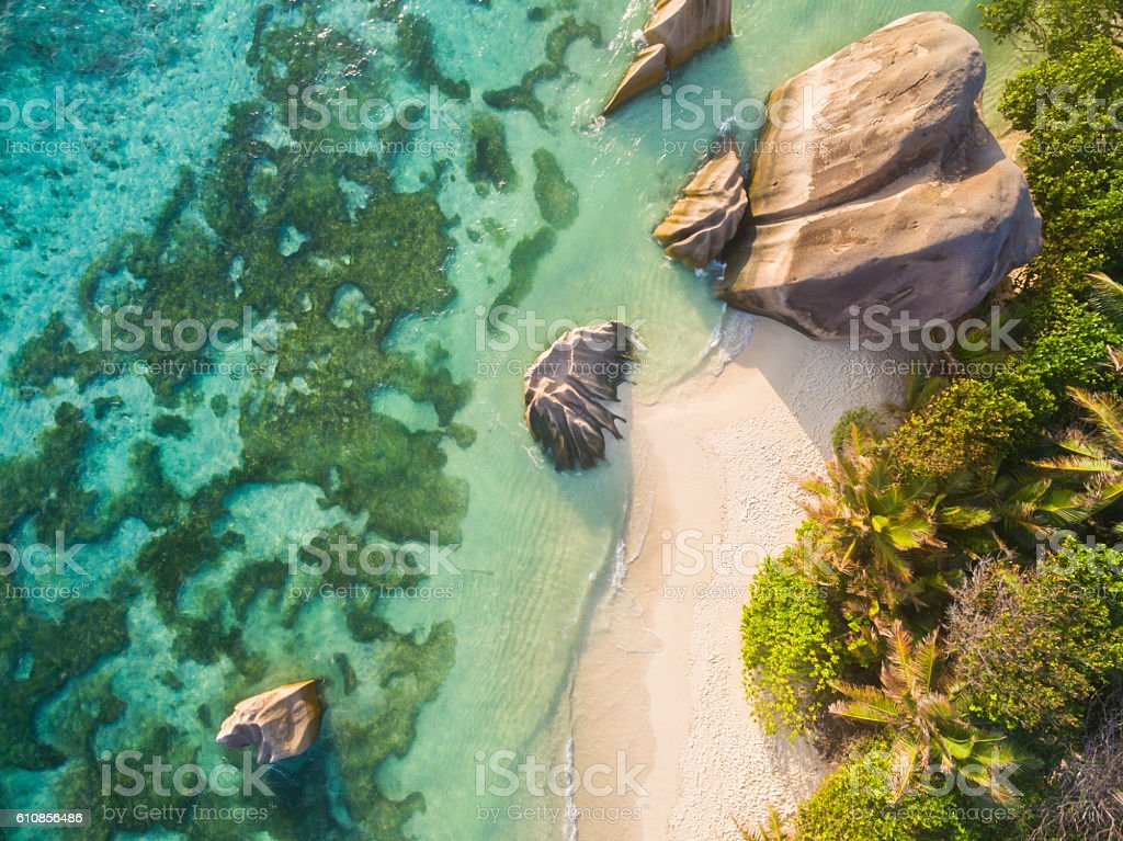 Aerial photo of Seychelles beach at La Digue stock photo