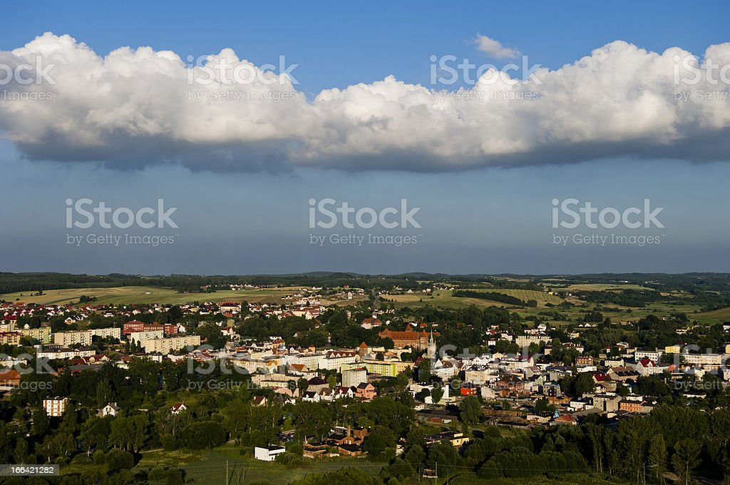 Aerial photo of small town royalty-free stock photo