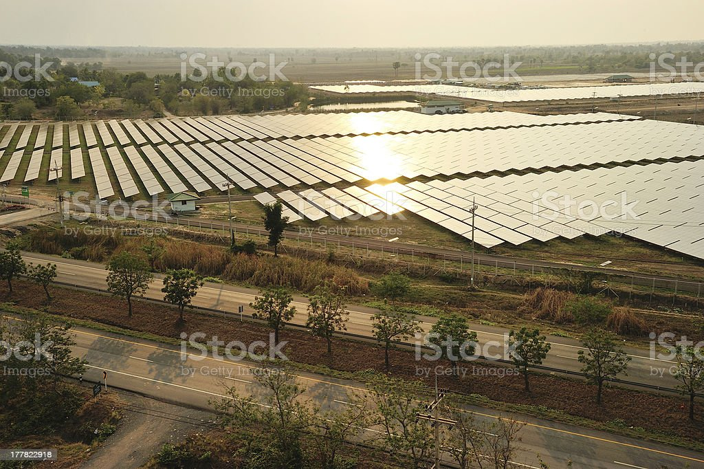 Aerial photo of solar power plant. stock photo