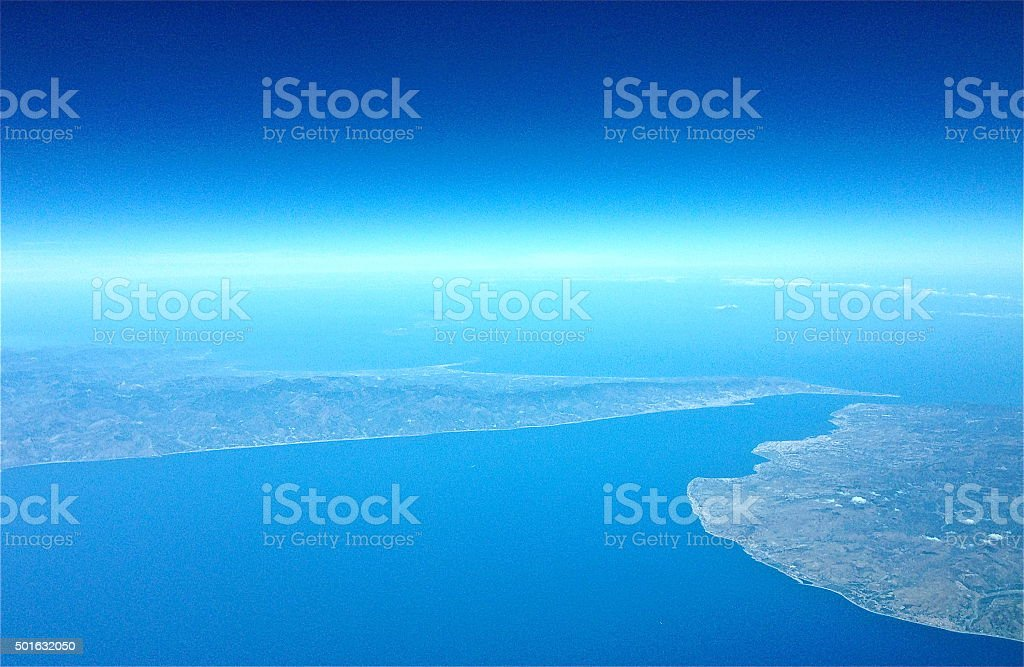 Aerial photo of Strait of Messina. Sicily and Calabria. stock photo