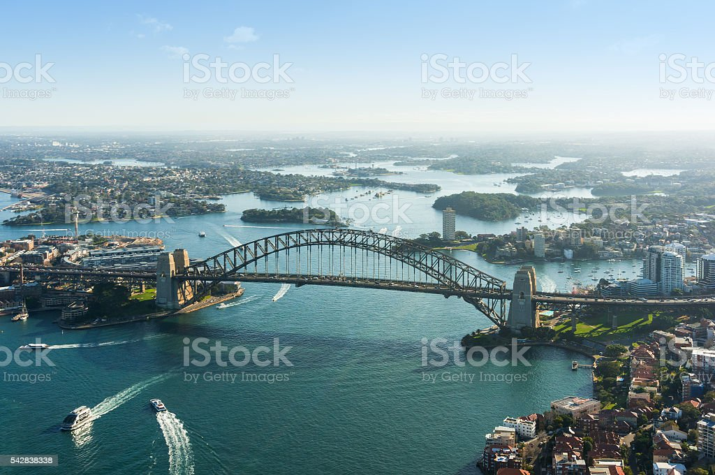 Aerial photo of Sydney Harbour and Harbour bridge stock photo
