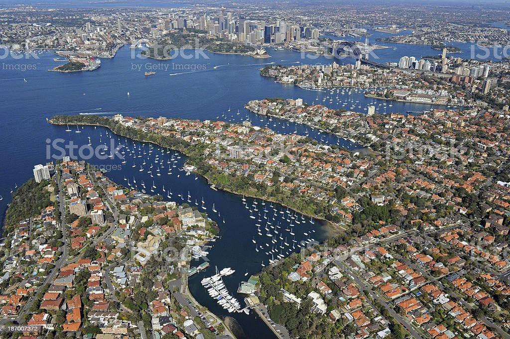 Aerial photo of Sydney Harbour royalty-free stock photo