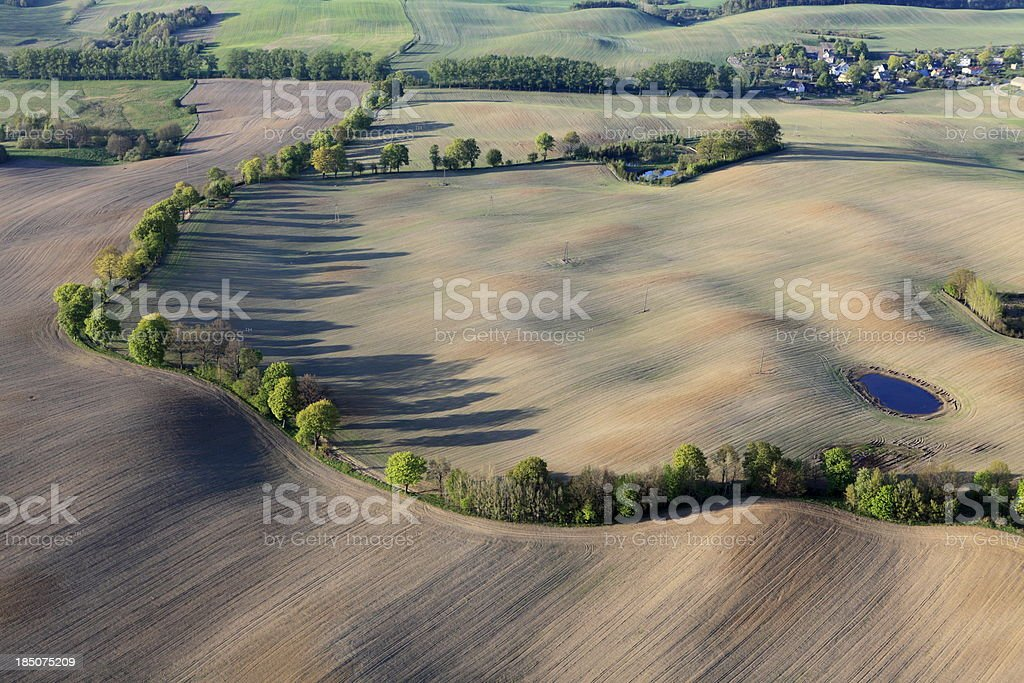 aerial photo of the fields in spring royalty-free stock photo