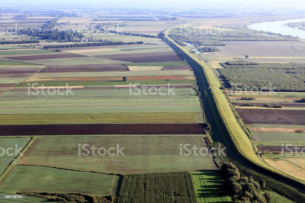 aerial photo of the flood embankment royalty-free stock photo