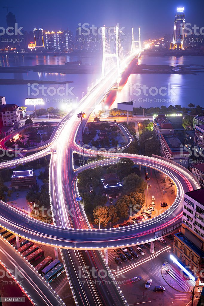 Aerial photo of the roadways of a city at night royalty-free stock photo